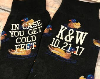 Groom Socks - Grooms Gift - Wedding Socks - Mens Gift - Cold Feet Socks - Gift From Bride - Mallard Duck Gift - Hunter Gift - Hunter Green YODAmCPqY