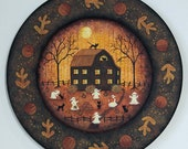 Halloween Folk Art Plate, Primitive Hand Painted Decor,  Ghosts Playing in Yard, Black Cats, Pumpkins, Full Moon, Fall Leaves READY TO SHIP