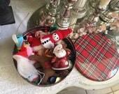 Vintage Tin Full of Christmas Ornaments, Snowman, Santas, ect
