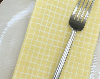 Yellow Napkins - Yellow and White small squares - Set of 4 Reversible Cloth