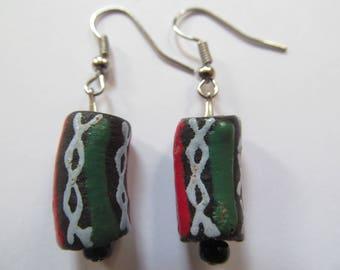 Red, Black & Green Ghana Earrings