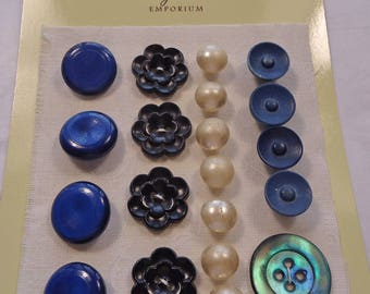 Vintage buttons - blue, pearlised glass, pearl, etc  (Ref D23)