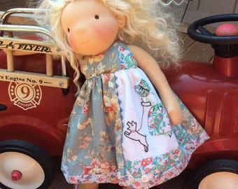 """Vintage linens, shabby chic, Scotty dog, 18"""" doll clothes, fits Waldorf, American Girl"""