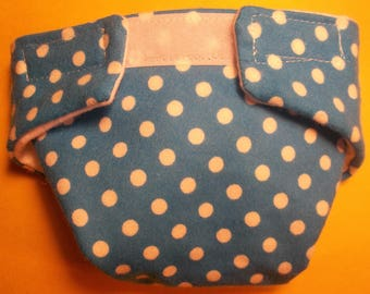 Doll diaper SIZE #2 ready to ship  cloth adjustable blue with  dots fits some baby alive baby all gone bitty baby fur real monkey and more
