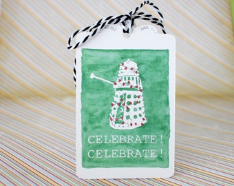 Handmade Gift Tags Set of 3 - Celelbrate! - Watercolor Dalek with Christmas Lights print with Ribbon - Dr Who inspired - Christmas, Hanukkah