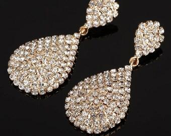 Gold Plated, Bridal Earrings, , Bridesmaid Earrings, Prom Earrings, Party Earrings