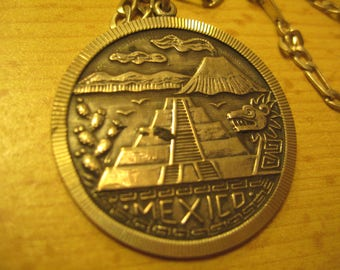 """Sterling 925 Silver Mexico Medal on 925 Chain 24"""" sliver  vintage 80s"""