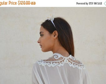 Bridal Chiffon cape,open bride shawl with embroidery,bridal shrug chic capelet ,wedding cover with pearls necklace