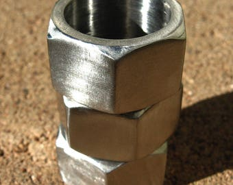 Hex nut ring, US size 8 modern industrial geometric stainless steel ring