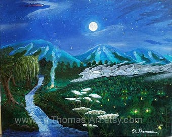 Wolves, wolf art, native american art, gift ideas, home decor, office decor, nature art, moon art, fire flies, art print, holiday gift