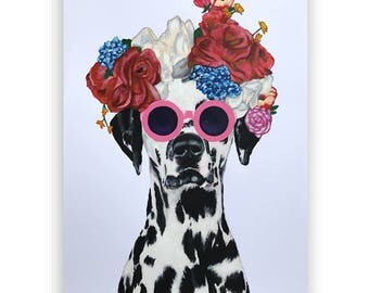 Whymsical Dalmatian Painting, handpainted on high quality 250g Art paper, dalmatian gift, by painter Coco de Paris: Dalmatian with flowerhat