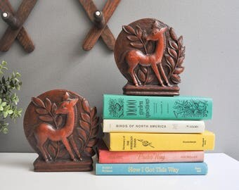 Vintage Syroco Wood Fawn Bookends