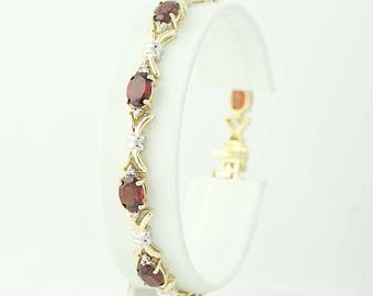 "Garnet & Diamond Link Bracelet 7 1/4"" - 10k Yellow Gold Oval Brilliant 9.18ctw N9402"