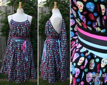 Shea Handmaiden / Grecian Dress - <READY TO SHIP> - one size - (Larp, Cosplay, Ren Faire, Festival) - Rainbow Sugar Skull Cotton, kneelength
