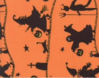 Hocus Pocus, Pumpkin, New Halloween Quilt Fabric from Sandy Gervais of Moda Fabric, 17930 12, Large Scale Halloween Trick or Treaters, Black