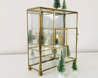 vintage glass curio cabinet square brass jewelry display mirrored geometric hanging trinket box