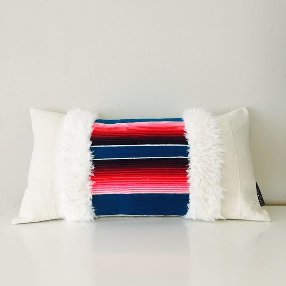 "Boho Blue Turquoise Serape Pillow Cover 14""x24"" Lumbar Cushion Pillow Ethnic Bohemian Pink Striped Pillow Faux Fur Pillow"