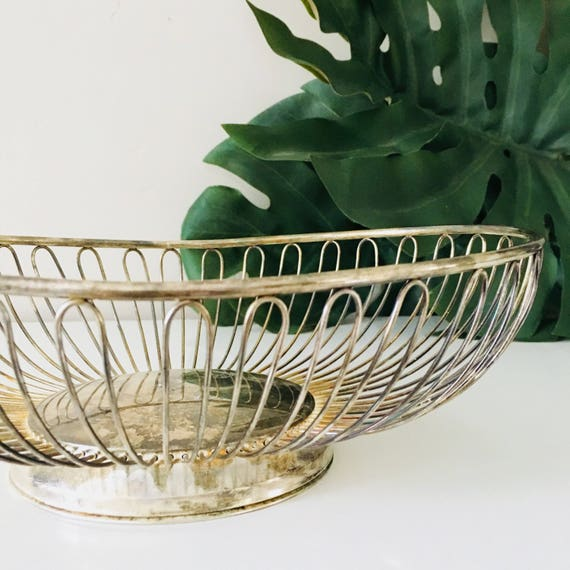 Vintage Metal Basket Silver Plated Metal Wire Storage Basket Mid Century Oval Centerpiece Basket