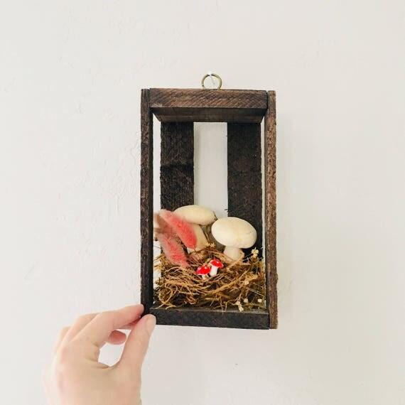 Vintage Mushroom Wooden Shadow Box Natural Dried Flowers Mushroom Wall Hanging Rustic Bohemian Boho Decor