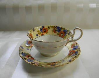 TEACUP, Vintage  Floral Border AYNSLEY Bone China Teacup