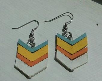 wooden chevron earrings