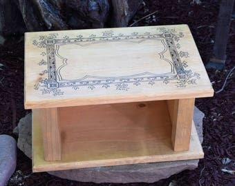 Wood burned ivy altar with storage