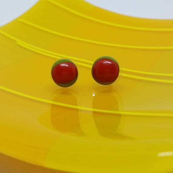 Tomato Red and Green Glass Stud Earrings