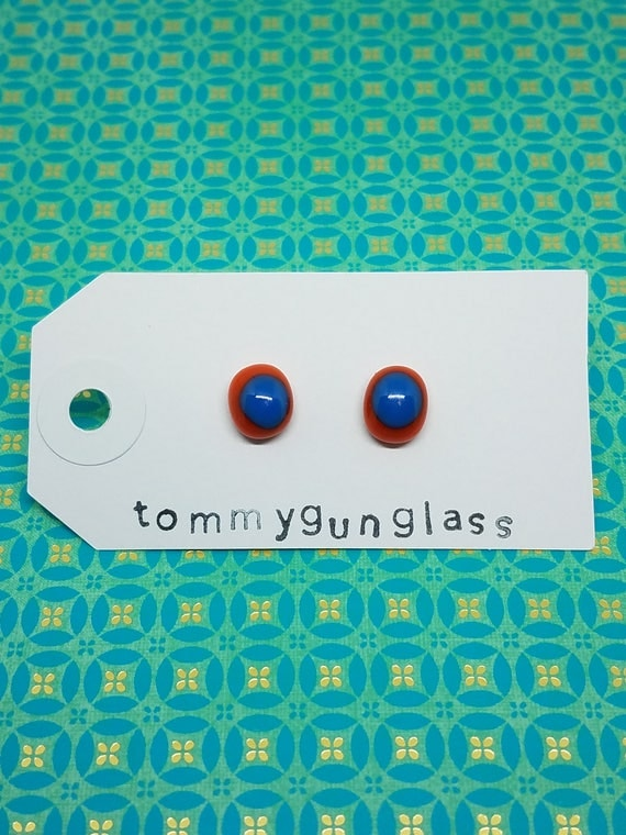 Tomato Red and Blue Glass Stud Earrings