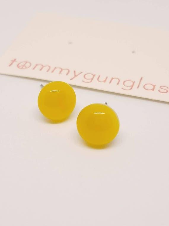 Lemon Yellow Stud Earrings