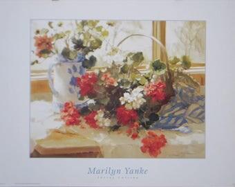 Vintage Poster, Artist, Marilyn Yanke, Geraniums, Floral, Painting, Artwork, Wall Art, Still Life