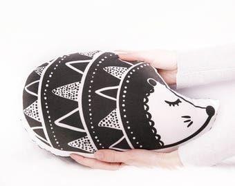 Plush toy Echidna - Porcupine Hedgehog - Throw pillow - Kids beds - Nursery decor - Black + White - Kids throw pillow - Sleepy eyes