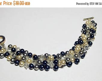 30% OFF SALE thru Mon Navy Blue Gray Cream Pearl and Crystal Cluster Bracelet, Christmas Mother's Day Bridesmaid Wedding Girlfriend Birthday