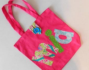 Funky hot pink, green, blue dance, diaper, school bag tote applique letters green, polka dots, button closure, dance, purse, daycare, swim