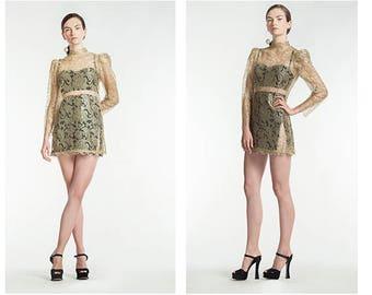 Vintage Lace Dress / 60s Party Dress / 1960s Minidress / Gold Lace Dress / Vintage Lace Minidress / Sheer Lace Dress / Size S