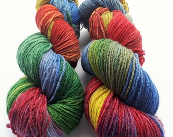 Hand painted Premium high twist sock yarn hand dyed: Winter rainbow