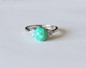 Opal ring, Cubic Zirconia opal ring, Green opal ring, Birthstone ring, Opal gifts, Opal jewelry, Green opal ring, CZ ring, CZ opal ring