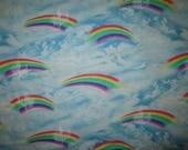 Rainbow Colors Sky Blue Clouds Cotton Fabric Fat Quarter Or Custom Listing