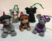 Reserved for slh9878  - Elephant, Monkey, Cat and Dog Christmas Ornaments - Custom Order - Art by Sarah Price