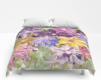 Morning Bloom Duvet Cover or Comforter, Bedspread Twin Full, White Yellow Pink Purple Green Lavender Blue, bright vivid colors, Expressive