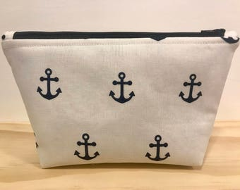 Nautical, anchor, makeup bag, cosmetic bag, zipper pouch, toiletry bag, gift for women, pencil case