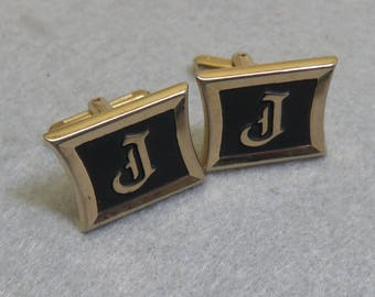 1960s Gold Plated Initial J Hickok Cuff LInks