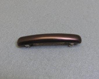 Vintage Bronze Plastic  Hair Barrette, 3 3/8ths inch Long Barrette