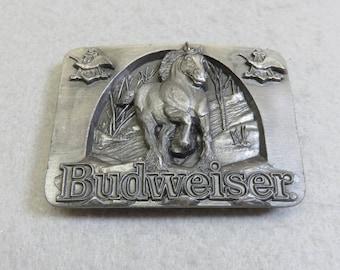 Vintage Budweiser Beer Clydesdale Horse Belt Buckle, 1990