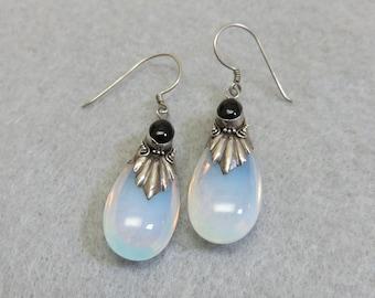 Vintage Opal Glass Droplet Pierced Earrings, Sterling Opal Glass Earrings