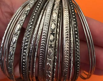 26 in 1 Big Stack of Various Silver Tone Bangles