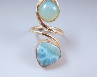 Aqua Chalcedony and Larimar- Golden Sun and Tropical Waters- Seafoam- Hammered Nu Gold- Adjustable Ring