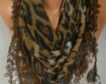 Clothing Gift,Brown Leopard Print Cotton Scarf,Bohemian, Women Shawl Scarf  Necklace Cowl,Gift  For Her