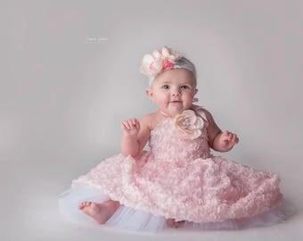 RTS   Blush Rosette Dress and matching headband   Size 6-12 months