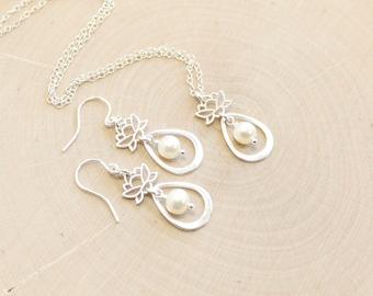 Sterling Silver Lotus Flower Pearl Petal Necklace and Earrings Set