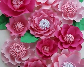 Large Pink Paper Flowers Set of 16 Large Paper Flower Photo Prop Backdrop Decor DIY Backdrop RESERVED
